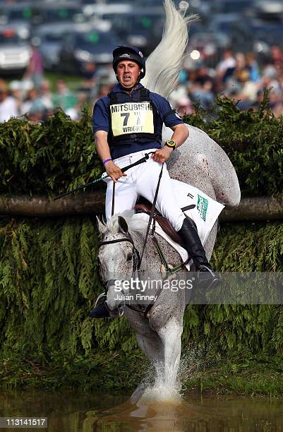 Matthew Wright riding Well Spotted as they compete in the cross country stage during day three of the Badminton Horse Trials on April 24, 2011 in...