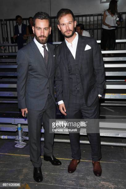 Matthew Zorpas and Paolo Stella arrive at the Dsquared2 show during Milan Men's Fashion Week Spring/Summer 2018 on June 18 2017 in Milan Italy