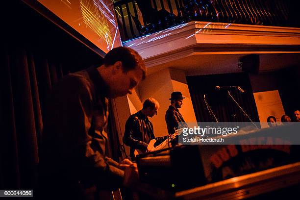 Matthias Arfman Peter Imig and Sebastian Maier of Matthias Arfmann presents Ballet Jeunesse perform live on stage during Yellow Lounge organized by...
