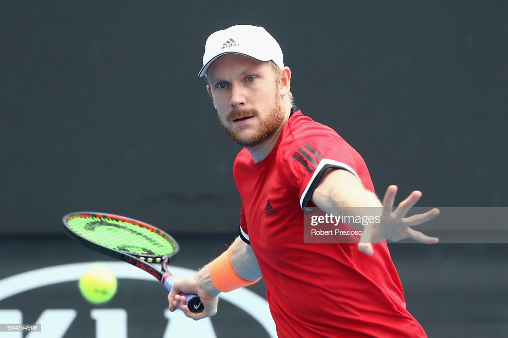 Matthias Bachinger of Germany competes in his second round match against James Duckworth of Australia during 2018 Australian Open Qualifying at Melbourne Park on January 13, 2018 in Melbourne, Australia.