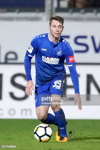 Matthias Bader of Karlsruher SC during the 3 Liga match between SV Wehen Wiesbaden and Karlsruher SC at on February 2 2018 in Wiesbaden Germany