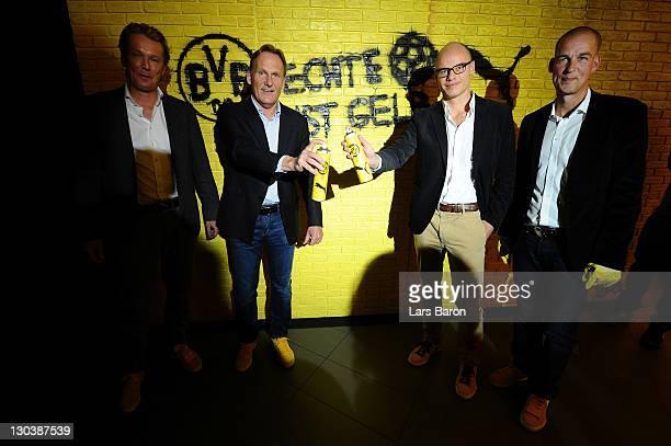Matthias Baeumer, director Puma Germany, Hans Joachim Watzke, CEO of Borussia Dortmund, Franz Koch, CEO of Puma, and Carsten Cramer, marketing...