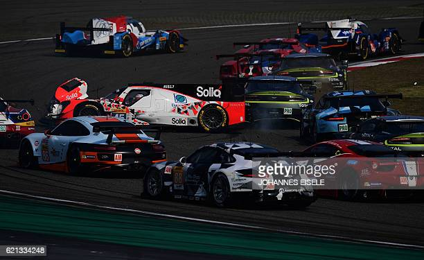 Matthias Beche of Switzerland crashes in his Oreca 05 Nissan of the Manor team after the start of the 2016 FIA World Endurance Championship race in...