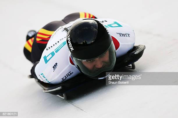 Matthias Biedermann of Germany during the Mens World Cup Skeleton at Cesana Pariol on January 20, 2005 in Cesana, Italy.