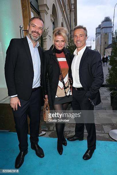 Matthias Bohlig Ursula Gottwald and Hannes Jaenicke during the Maxdome launch of the new entertainment world at Filmcasino on April 13 2016 in Munich...