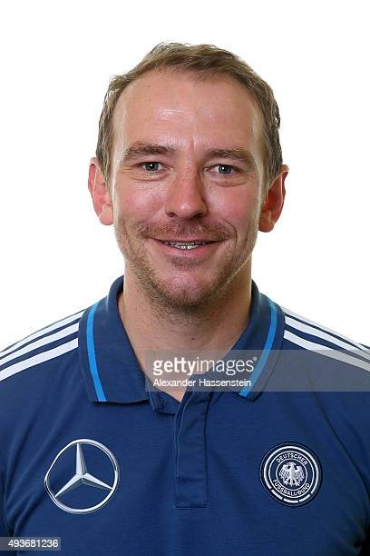 Matthias Braunger physiotherapist of the Germany national U16 team poses during the team presentation on October 21 2015 in Grodig Austria