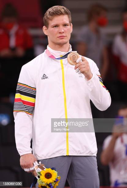 Matthias Casse of Team Belgium poses with the bronze medal for Men's Judo 81kg event on day four of the Tokyo 2020 Olympic Games at Nippon Budokan on...