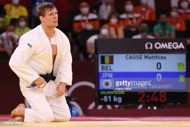 Matthias Casse of Team Belgium reacts after he was defeated by Takanori Nagase of Team Japan during the Men's Judo 81kg Semifinal of Table A on day...