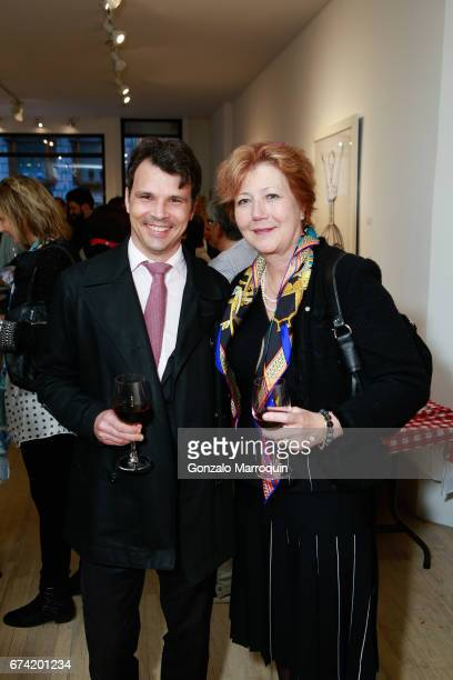 Matthias Dettling and Brigitte Schaller attend the Swiss Wine Valais Loves New York hosted by Gregory de la Haba Billy The Artist Anthony HadenGuest...