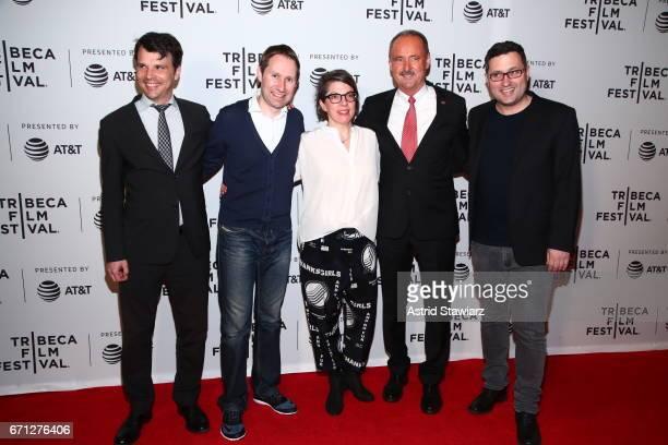 Matthias Dettling Lukas Hobi Petra Volpe André Schaller and Reto Schaerli attends 'The Divine Order' Premiere during 2017 Tribeca Film Festival at...