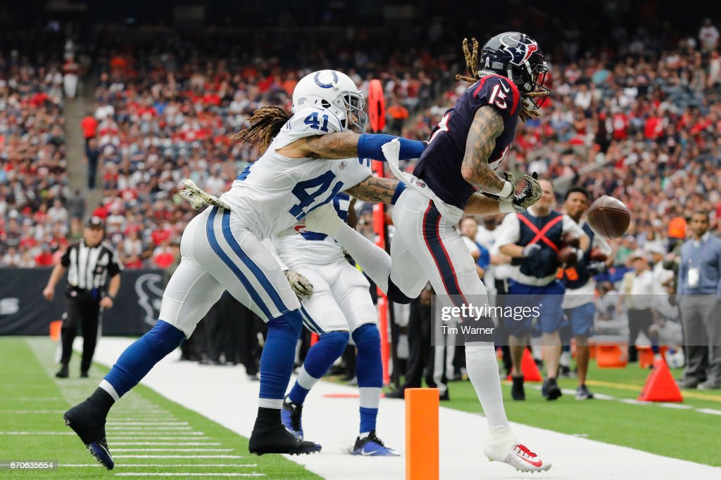 Matthias Farley #41 of the Indianapolis Colts breaks up a pass intended for Will Fuller #15 of the Houston Texans in the third quarter at NRG Stadium on November 5, 2017 in Houston, Texas.