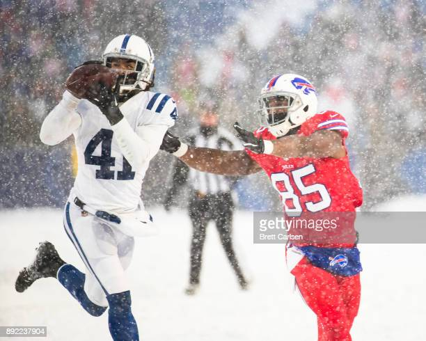 Matthias Farley of the Indianapolis Colts intercepts a pass intended for Charles Clay of the Buffalo Bills in the final in the final minutes of the...