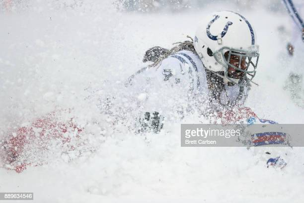Matthias Farley of the Indianapolis Colts tackles Charles Clay of the Buffalo Bills during the second quarter on December 10 2017 at New Era Field in...