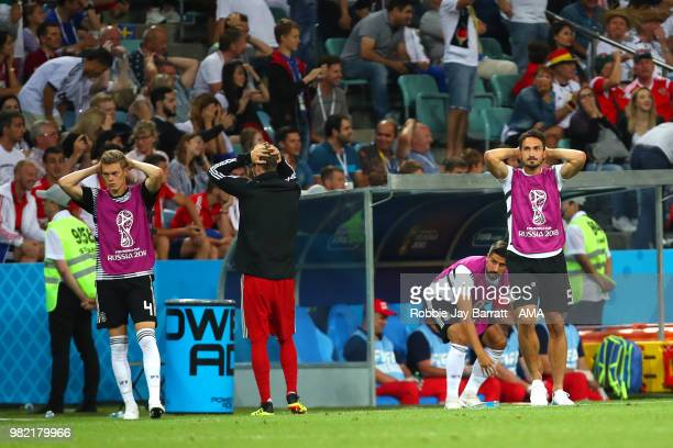 Matthias Ginter and Mats Hummels of Germany react during the 2018 FIFA World Cup Russia group F match between Germany and Sweden at Fisht Stadium on...
