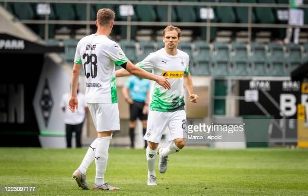 Matthias Ginter and Tony Jantschke of Borussia Moenchengladbach during the Bundesliga match between Borussia Moenchengladbach and Hertha BSC at...