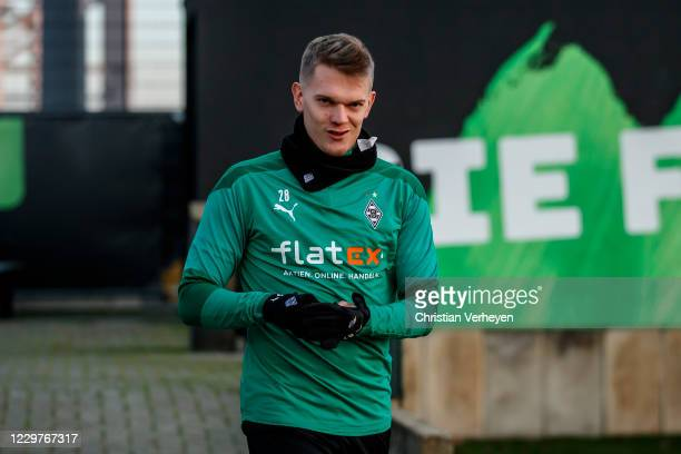 Matthias Ginter is seen during a Borussia Moenchengladbach Training session ahead the Group B UEFA Champions League match between Borussia...