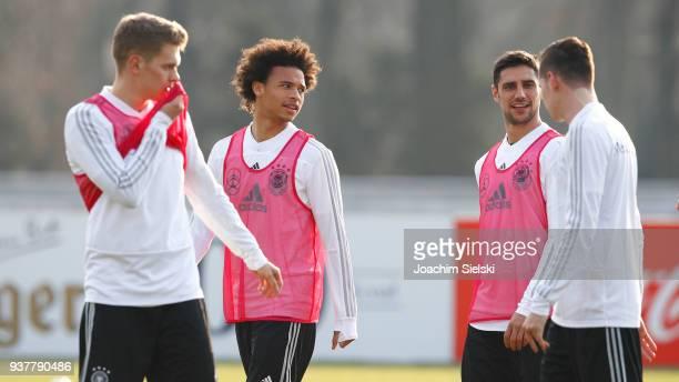 Matthias Ginter Leroy Sane Lars Stindl and Julian Draxler at the training session of the German National Team at Schenkendorffplatz on March 25 2018...