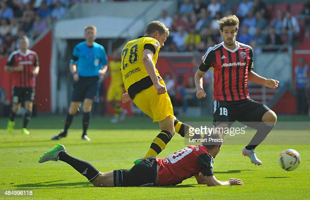 Matthias Ginter of Borussia Dortmund scores the opening goal during the Bundesliga match between FC Ingolstadt and Borussia Dortmund at Audi...