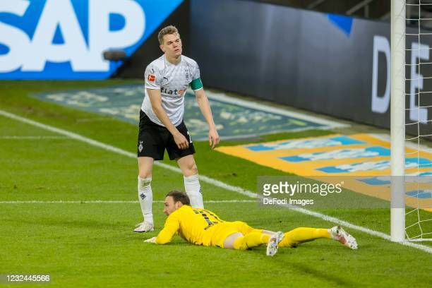 Matthias Ginter of Borussia Moenchengladbach and goalkeeper Tobias Sippel of Borussia Moenchengladbach looks dejected during the Bundesliga match...
