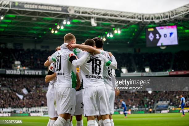 Matthias Ginter of Borussia Moenchengladbach celebrate with team mates after he score his teams first goal during the Bundesliga match between...