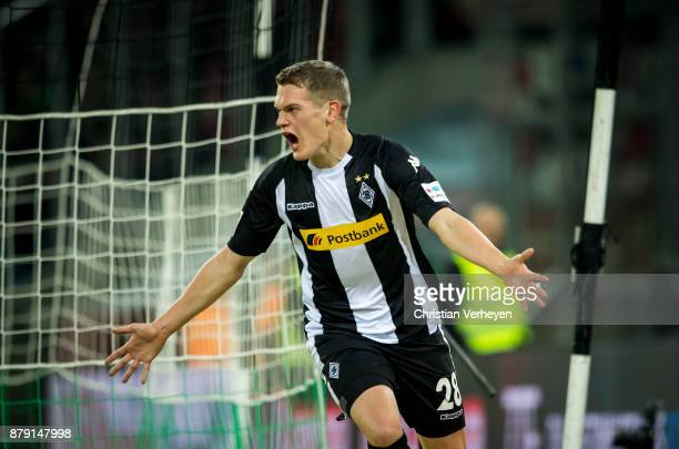 Matthias Ginter of Borussia Moenchengladbach celebrates after he scores his teams second goal during the Bundesliga match between Borussia...