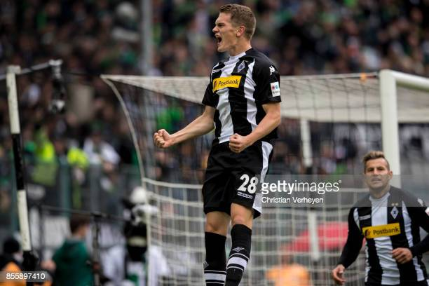 Matthias Ginter of Borussia Moenchengladbach celebrates his first goal during the Bundesliga match between Borussia Moenchengladbach and Hannover 96...