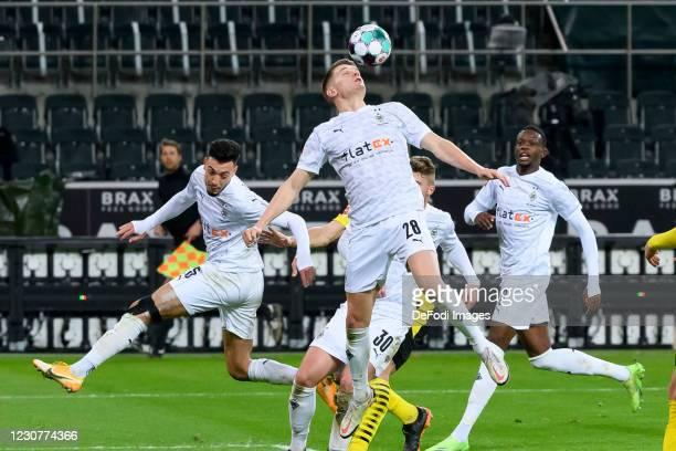 Matthias Ginter of Borussia Moenchengladbach controls the ball during the Bundesliga match between Borussia Moenchengladbach and Borussia Dortmund at...