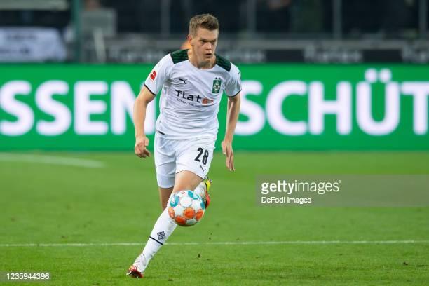 Matthias Ginter of Borussia Moenchengladbach controls the ball during the Bundesliga match between Borussia Mönchengladbach and VfB Stuttgart at...