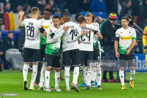 Matthias Ginter of Borussia Moenchengladbach Denis Zakaria of Borussia Moenchengladbach Stefan Lainer of Borussia Moenchengladbach Alassane Plea of...