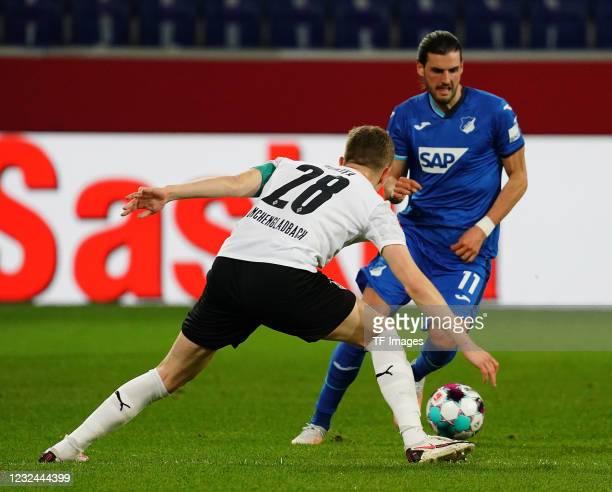 Matthias Ginter of Borussia Moenchengladbach , Florian Grillitsch of TSG Hoffenheim during the Bundesliga match between TSG Hoffenheim and Borussia...
