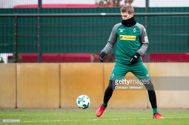 Matthias Ginter of Borussia Moenchengladbach in action during a training session of Borussia Moenchengladbach at BorussiaPark on January 10 2018 in...