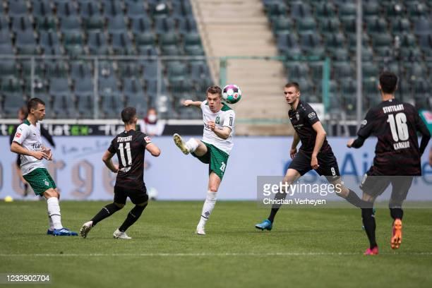 Matthias Ginter of Borussia Moenchengladbach in action during the Bundesliga match between Borussia Moenchengladbach and VfB Stuttgart at...