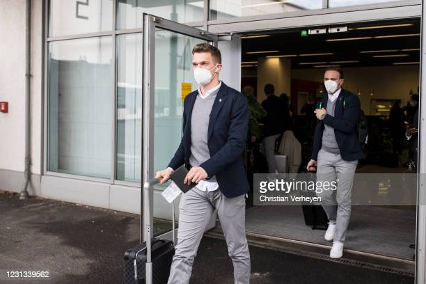 Matthias Ginter of Borussia Moenchengladbach is seen as the team travel to Budapest for their upcoming UEFA Champions League match, at Airport...