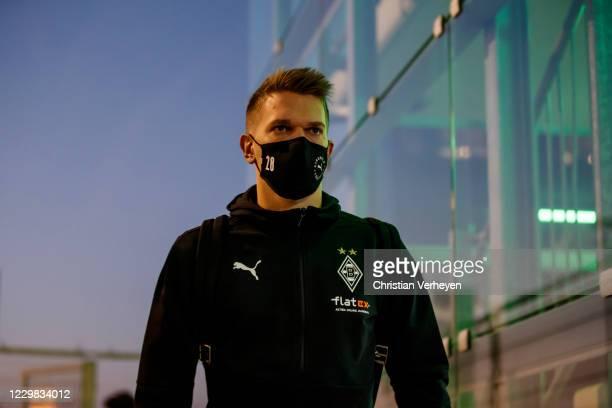 Matthias Ginter of Borussia Moenchengladbach is seen before the Bundesliga match between Borussia Moenchengladbach and FC Schalke 04 at BorussiaPark...