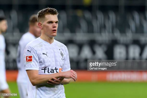Matthias Ginter of Borussia Moenchengladbach looks on during the Bundesliga match between Borussia Moenchengladbach and Borussia Dortmund at...