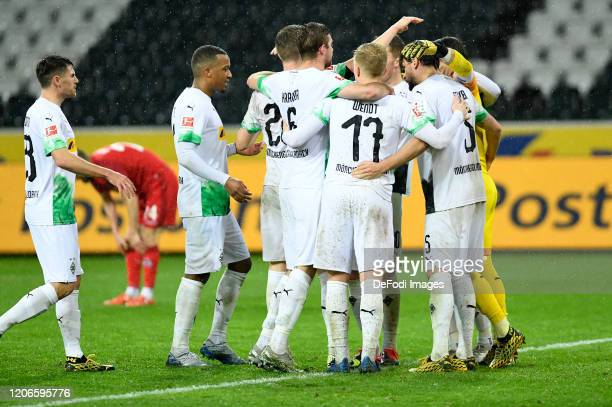 Matthias Ginter of Borussia Moenchengladbach Nico Elvedi of Borussia Moenchengladbach Stefan Lainer of Borussia Moenchengladbach Oscar Wendt of...