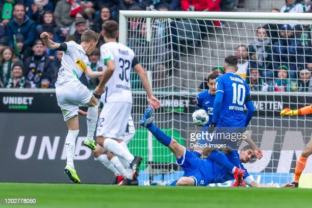 Matthias Ginter of Borussia Moenchengladbach scores his team's first goal during the Bundesliga match between Borussia Moenchengladbach and TSG 1899...