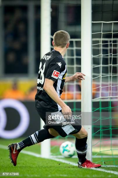 Matthias Ginter of Borussia Moenchengladbach scores his teams second goal during the Bundesliga match between Borussia Moenchengladbach and Bayern...
