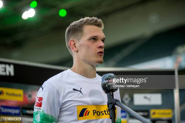 Matthias Ginter of Borussia Moenchengladbach talkes to the media after the Bundesliga match between Borussia Moenchengladbach and 1 FC Union Berlin...