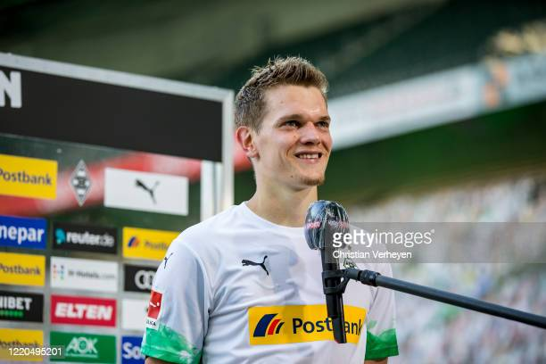 Matthias Ginter of Borussia Moenchengladbach talks to the media after the Bundesliga match between Borussia Moenchengladbach and VfL Wolfsburg at...