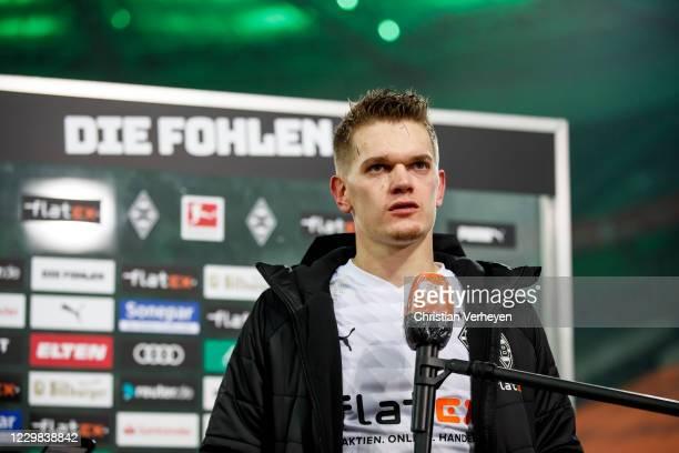 Matthias Ginter of Borussia Moenchengladbach talks to the media after the Bundesliga match between Borussia Moenchengladbach and FC Schalke 04 at...