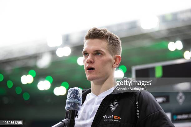 Matthias Ginter of Borussia Moenchengladbach talks to the media after the Bundesliga match between Borussia Moenchengladbach and Eintracht Frankfurt...