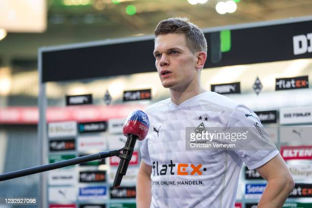 Matthias Ginter of Borussia Moenchengladbach talks to the media after the Bundesliga match between Borussia Moenchengladbach and DSC Arminia...