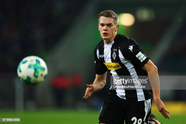 Matthias Ginter of Borussia Monchengladbach in action during the Bundesliga match between Borussia Moenchengladbach and FC Bayern Muenchen at...