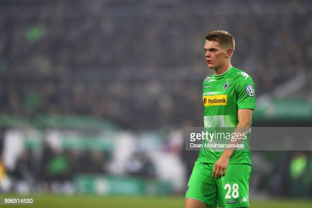 Matthias Ginter of Borussia Monchengladbach looks on during the DFBPokal match between Borussia Moenchengladbach and Bayer Leverkusen at BorussiaPark...