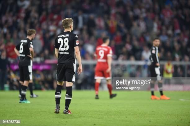 Matthias Ginter of Borussia Monchengladbach reacts during the German Bundesliga soccer match between FC Bayern Munich and Borussia Monchengladbach at...