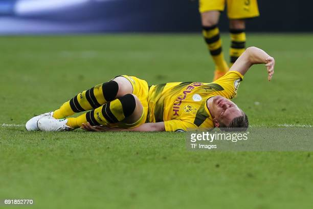 Matthias Ginter of Dortmund on the ground during the DFB Cup final match between Eintracht Frankfurt and Borussia Dortmund at Olympiastadion on May...