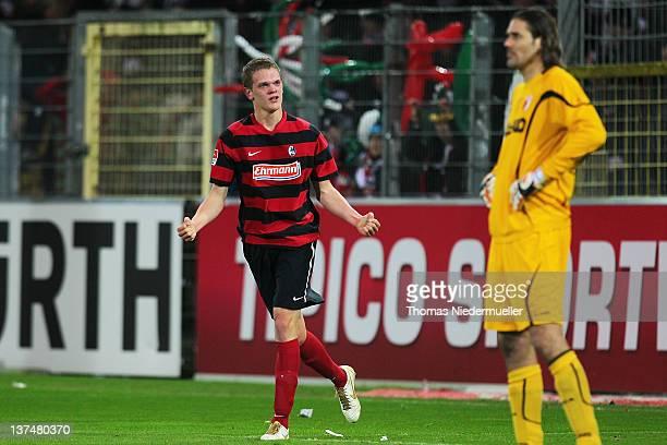 Matthias Ginter of Freiburg celebrates his goal during the Bundesliga match between SC Freiburg and FC Augsburg at Mage Solar Stadium on January 21...