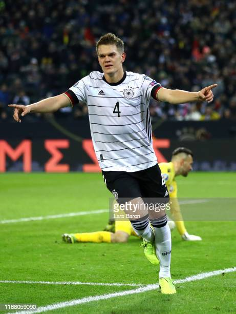 Matthias Ginter of Germany celebrates after scoring his team's first goal during the UEFA Euro 2020 Group C Qualifier match between Germany and...
