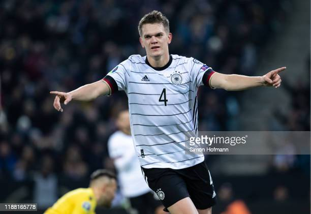 Matthias Ginter of Germany celebrates his team's first goal during the UEFA Euro 2020 Qualifier match between Germany and Belarus on November 16 2019...